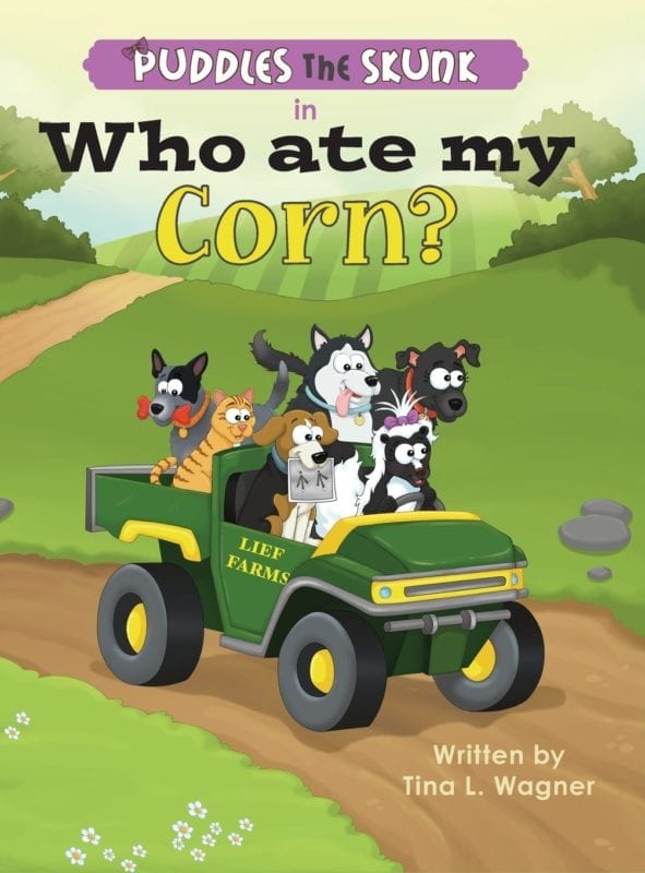 Puddles the Skunk in Who Ate My Corn | Mindstir Media Book Cover