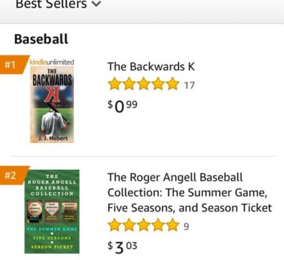The Backwards K Kindle version is the 1 Best Seller and 1 Hot New Release in baseball. | Mindstir Media Book Cover