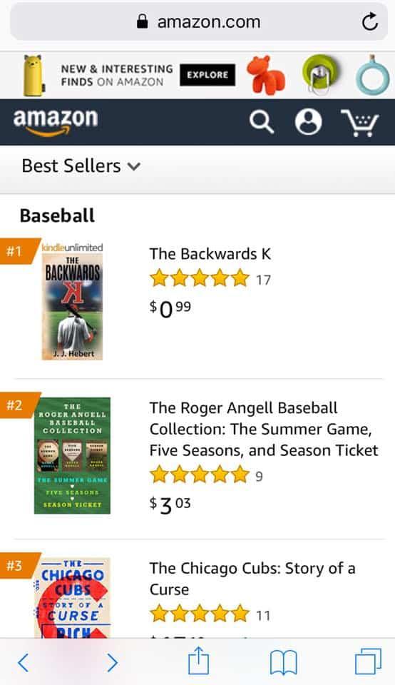 The Backwards K Kindle version is the 1 Best Seller and 1 Hot New Release in baseball. | Mindstir Media Book Cover